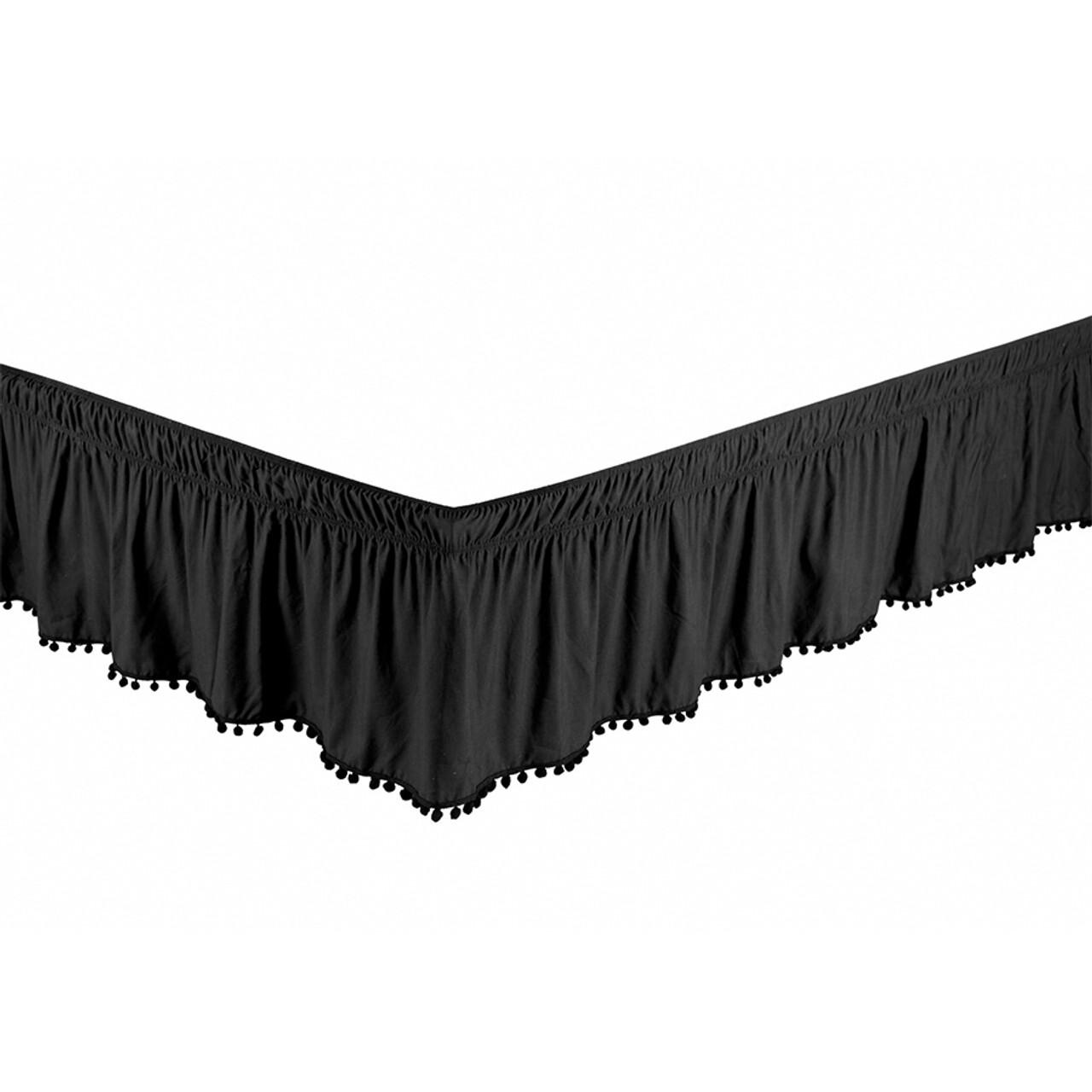 "Black Bed Skirt Dust Ruffle with Pom-Pom Fringe 100% Brushed Microfiber with 14"" Drop in USA, California, New York, New York City, Los Angeles, San Francisco, Pennsylvania, Washington DC, Virginia, Maryland"