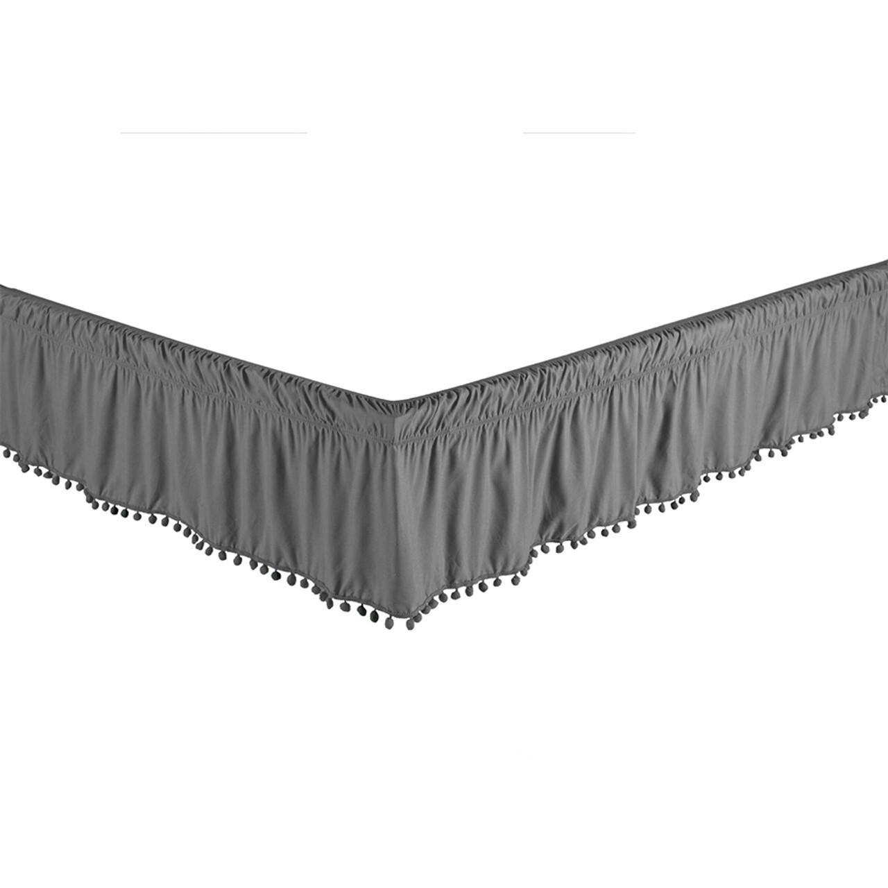 "Grey Bed Skirt Dust Ruffle with Pom-Pom Fringe 100% Brushed Microfiber with 14"" Drop in USA, California, New York, New York City, Los Angeles, San Francisco, Pennsylvania, Washington DC, Virginia, Maryland"