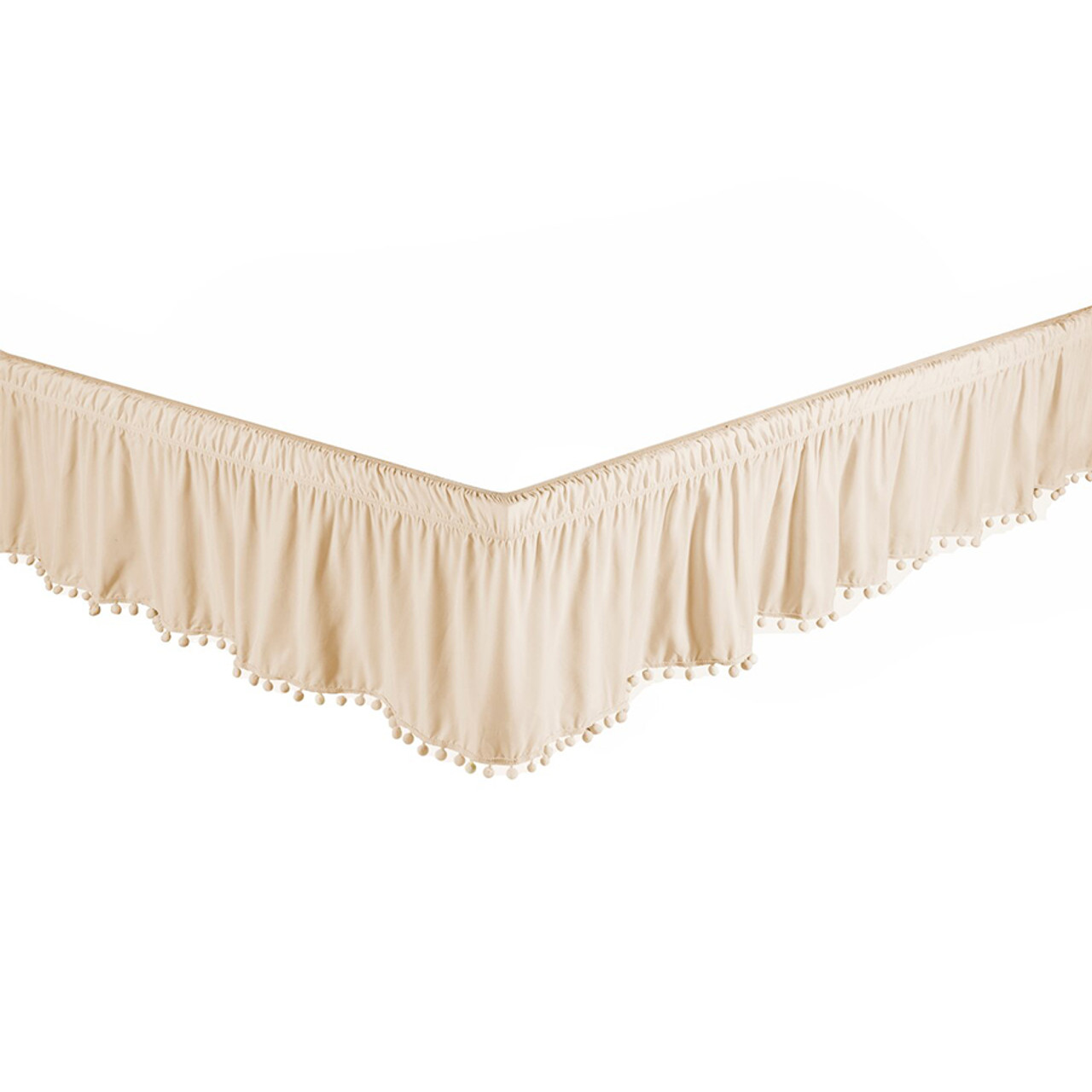"Beige Bed Skirt Dust Ruffle with Pom-Pom Fringe 100% Brushed Microfiber with 14"" Drop in USA, California, New York, New York City, Los Angeles, San Francisco, Pennsylvania, Washington DC, Virginia, Maryland"