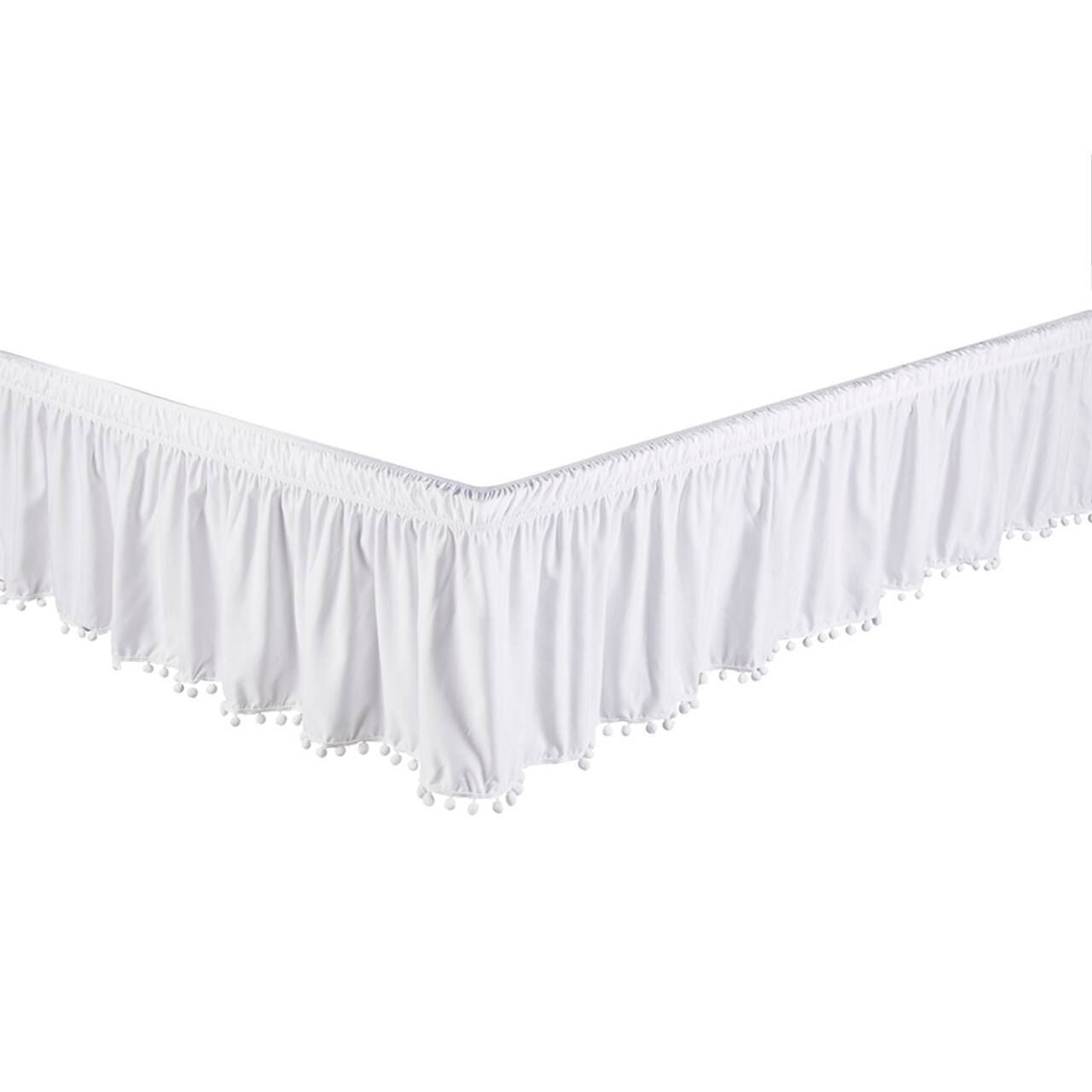"White Bed Skirt Dust Ruffle with Pom-Pom Fringe 100% Brushed Microfiber with 14"" Drop in USA, California, New York, New York City, Los Angeles, San Francisco, Pennsylvania, Washington DC, Virginia, Maryland"