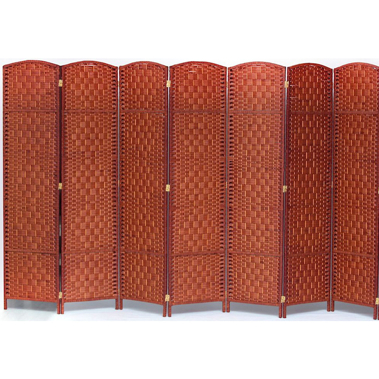 7 Panel Room Divider, Privacy Partition Screen Bamboo Woven Panel