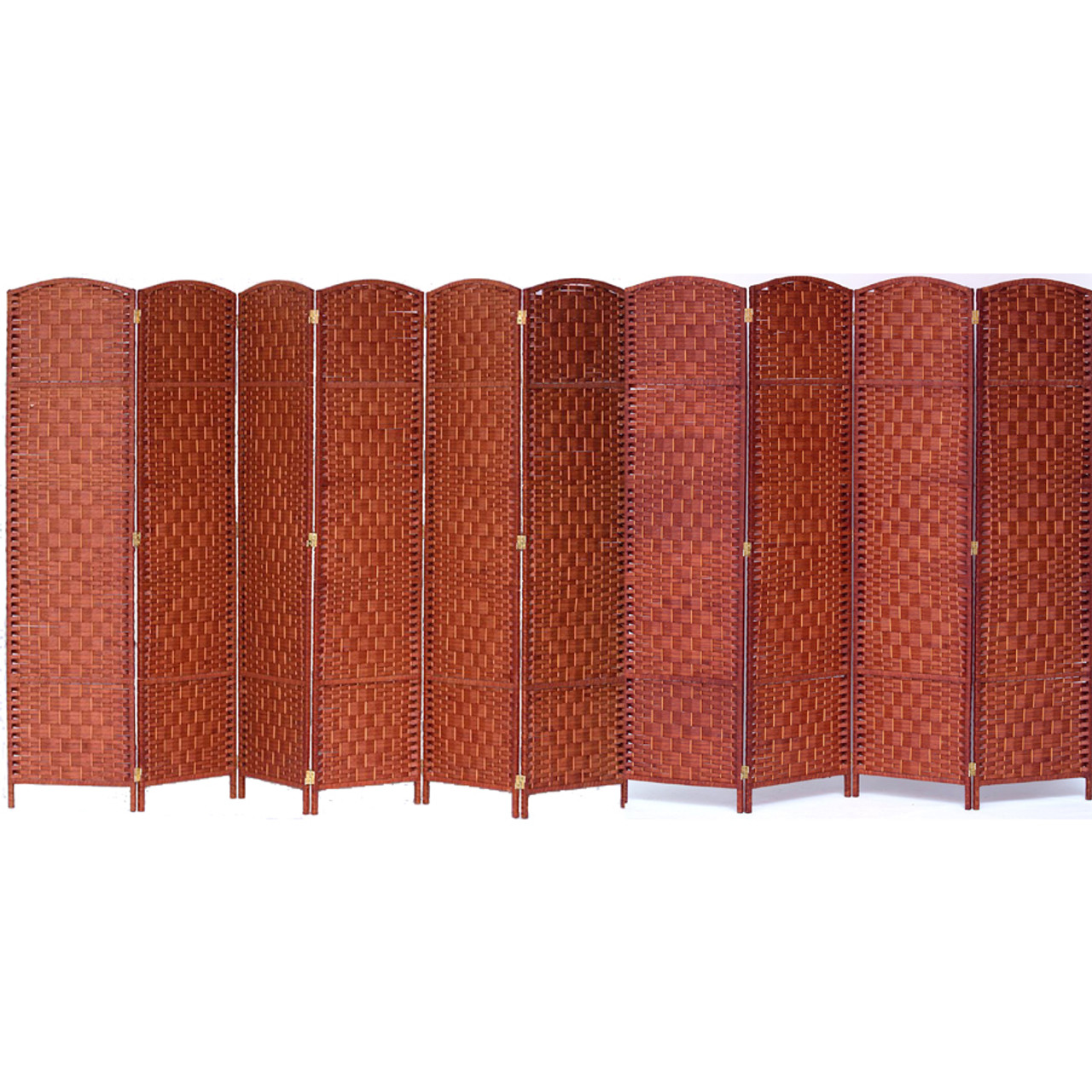 10 Panels Room Divider, Privacy Partition Screen Bamboo Woven Panel