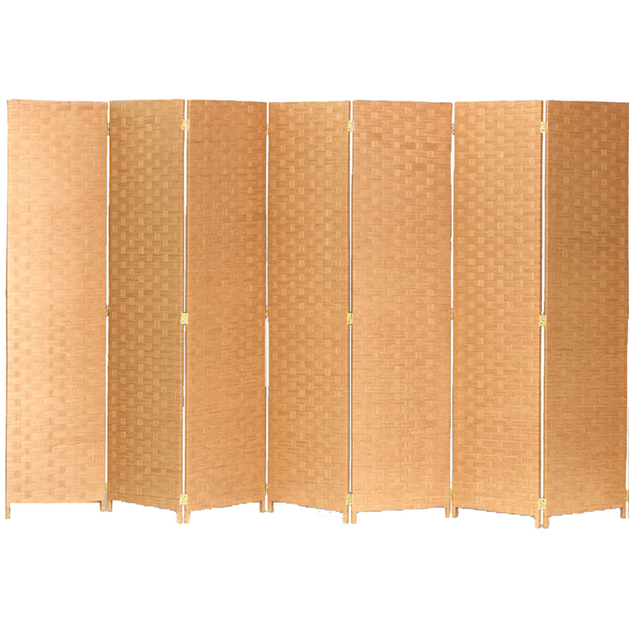 Bamboo Woven Panel Room Divider, Privacy Partition Screen, 7 Panels