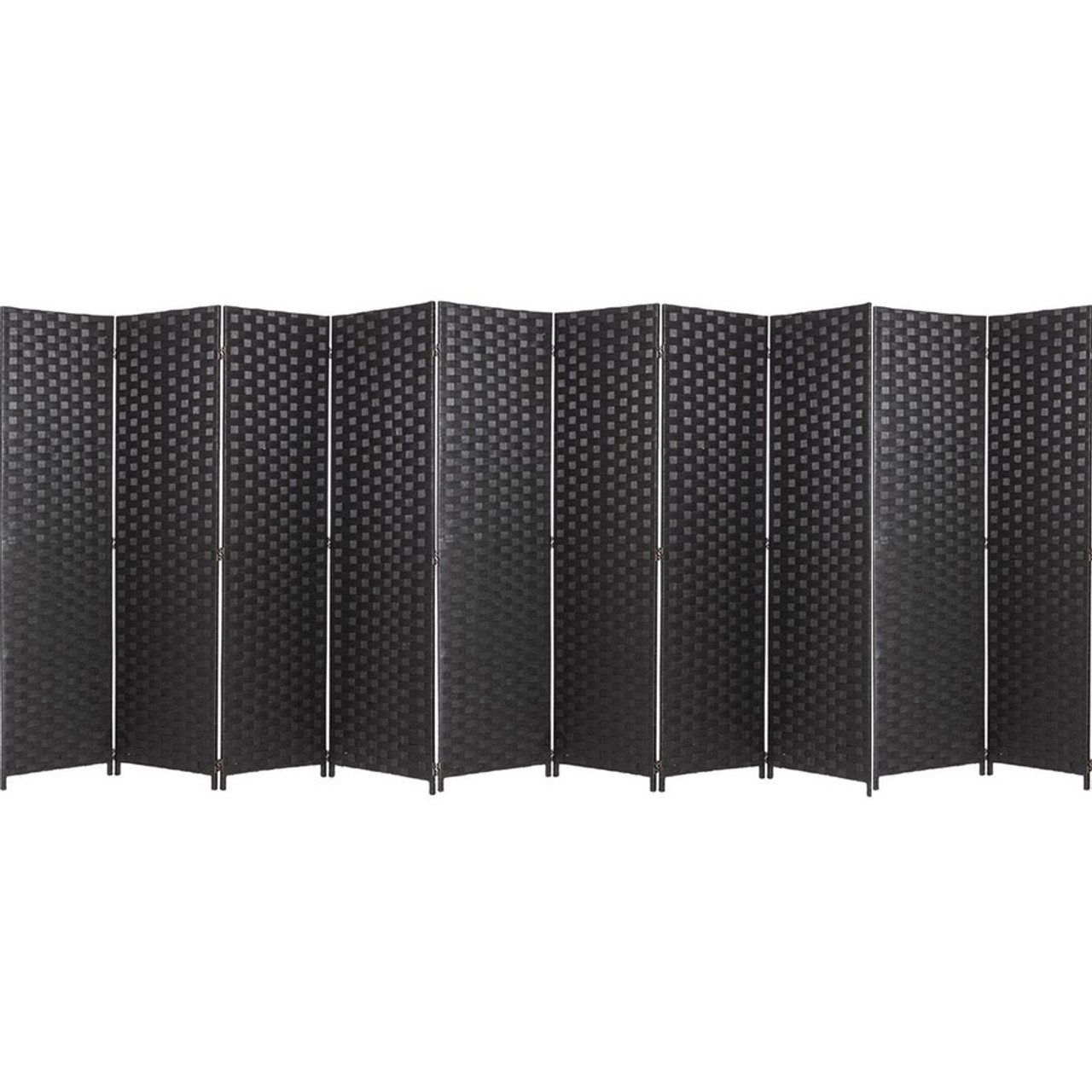10 Panel Room Divider Privacy Screen, Bamboo Woven Panel
