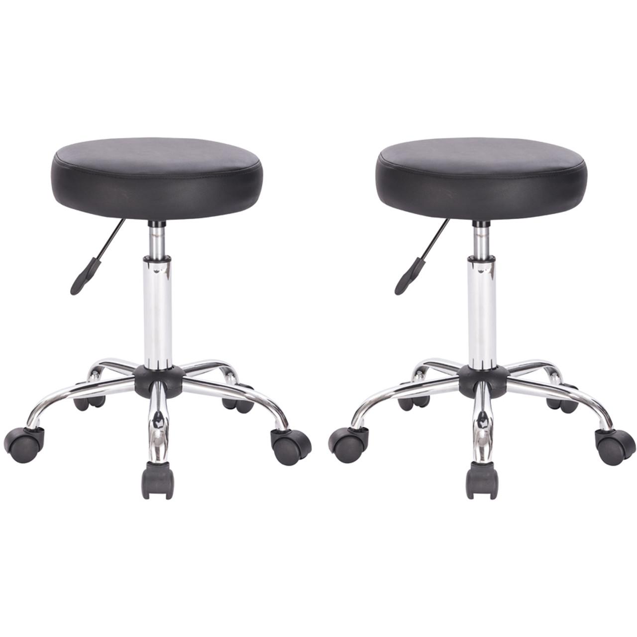 Set of 2 Black Adjustable Height Pneumatic Round Roller Stool with Chrome Base in USA, California, New York, New York City, Los Angeles, San Francisco, Pennsylvania, Washington DC, Virginia, Maryland