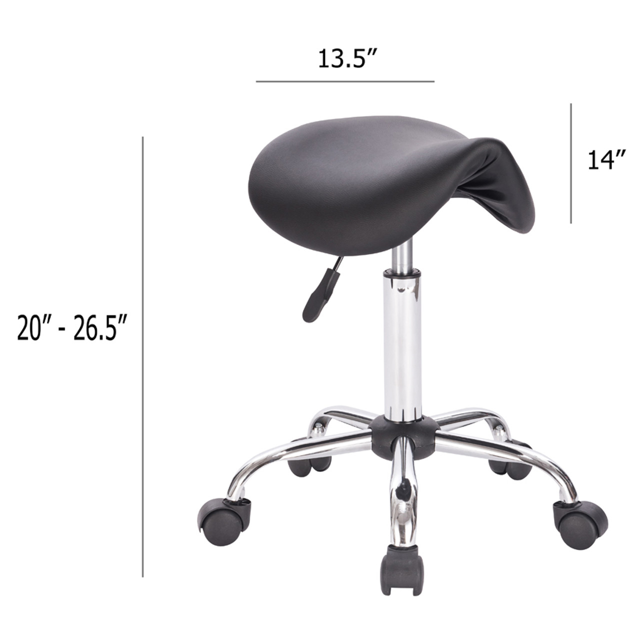 Adjustable Height Pneumatic Saddle Roller Stool with Chrome Base, Black in California, New York, New York City, Los Angeles, San Francisco, Pennsylvania, Washington DC, Virginia, Maryland