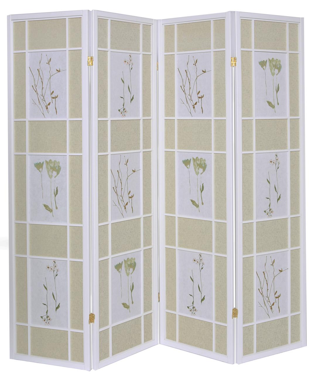Room Divider 4 Panel Floral Accented White Wood Frame Printed Shoji Paper in USA, California, New York, New York City, Los Angeles, San Francisco, Pennsylvania, Washington DC, Virginia, Maryland