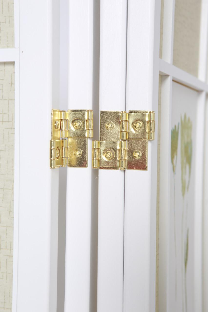 Room Divider 4 Panel Floral Accented White Wood Frame Printed Shoji Paper in USA, California, New York, NY City, Los Angeles, San Francisco, Pennsylvania, Washington DC, Virginia, Maryland