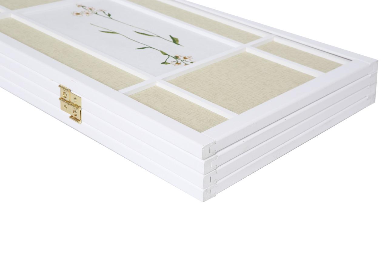 Room Divider 4 Panel Floral Accented White Wood Frame Printed Shoji Paper in USA, California, New York, NY City, Los Angeles, San Francisco, Pennsylvania, Washington DC, Virginia and Maryland