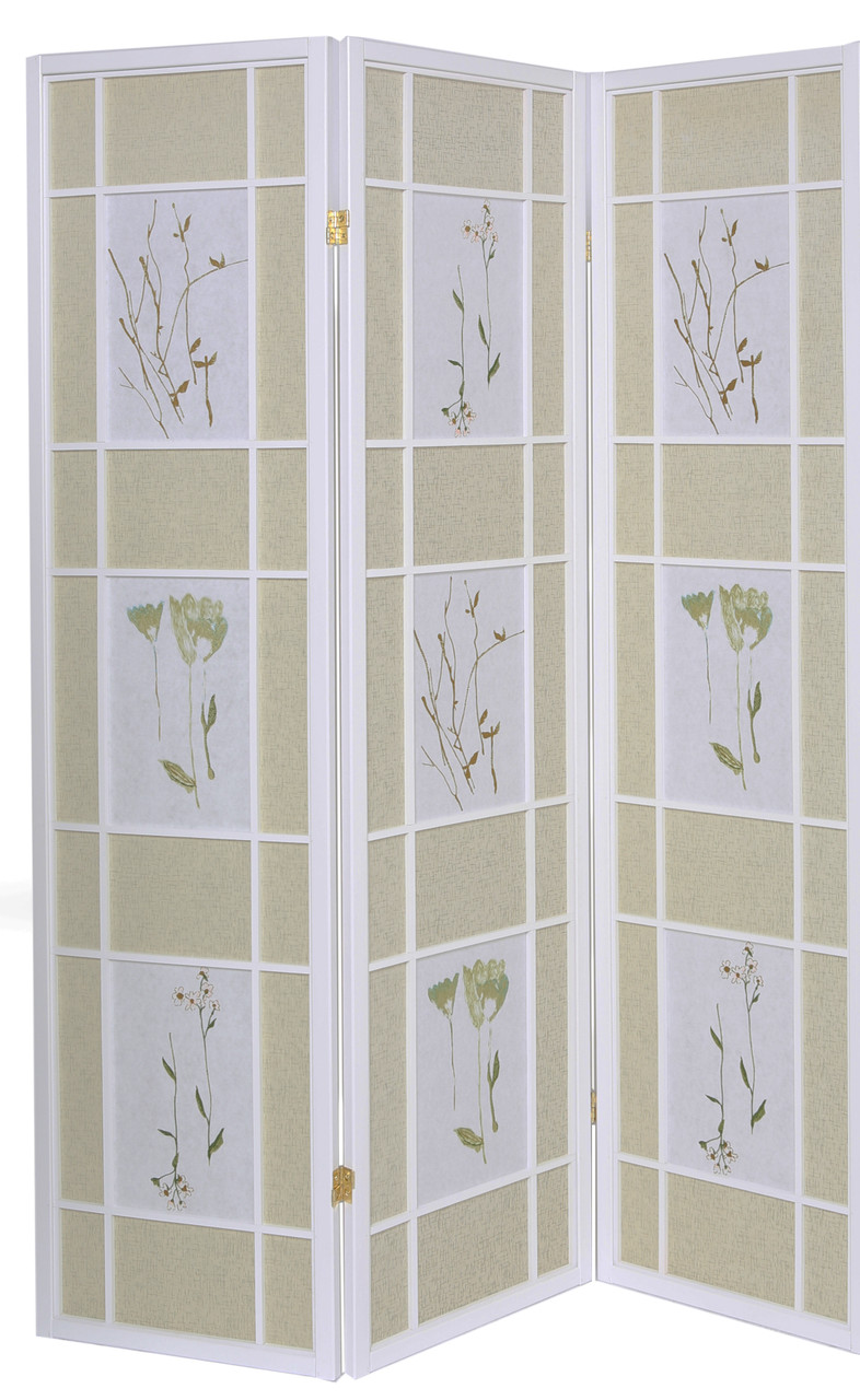 Room Divider 3 Panel Floral Accented Screen White Wood Frame Printed Shoji Paper in USA, California, New York, New York City, Los Angeles, San Francisco, Pennsylvania, Washington DC, Virginia, Maryland