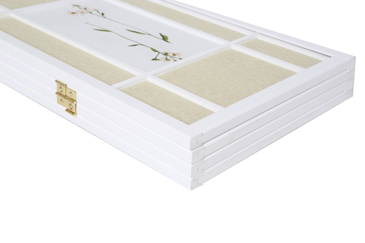 Room Divider 3 Panel Floral Accented Screen White Wood Frame Printed Shoji Paper in USA, California, New York, New York City, Los Angeles, San Francisco, Pennsylvania, Washington DC, Virginia and Maryland