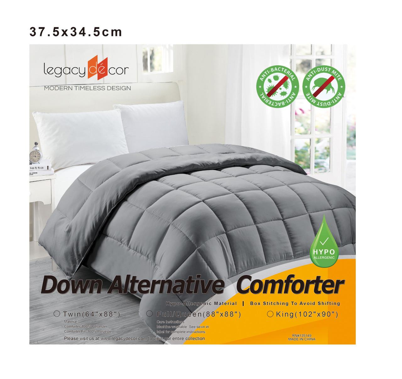 Down Alternative Hypoallergenic Comforter Grey Color