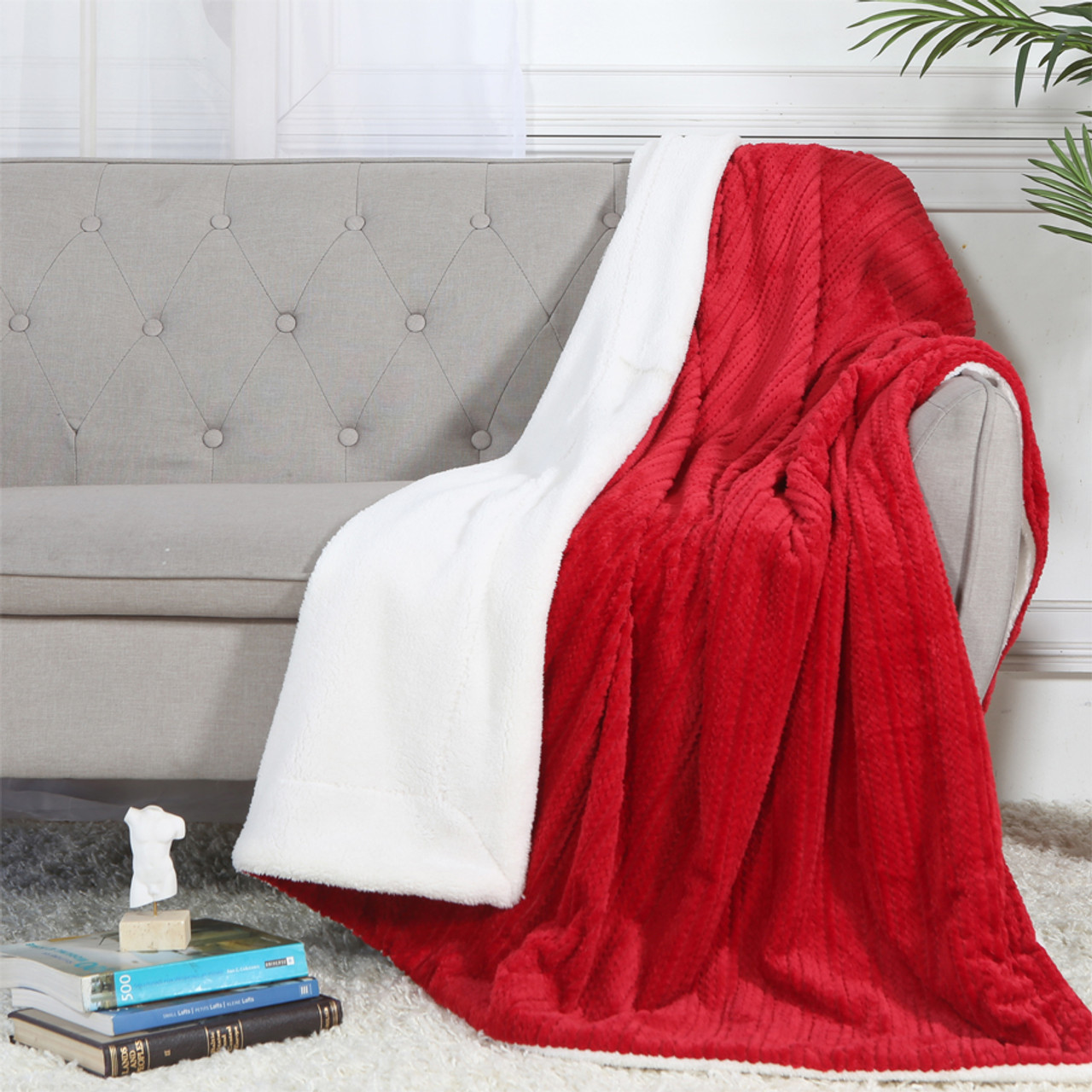 """Legacy Decor Luxury Ultra Plush and Soft Sherpa Fleece Throw Blanket,  52"""" x 71"""" Blue, Pink, Red, Brown, or Grey"""