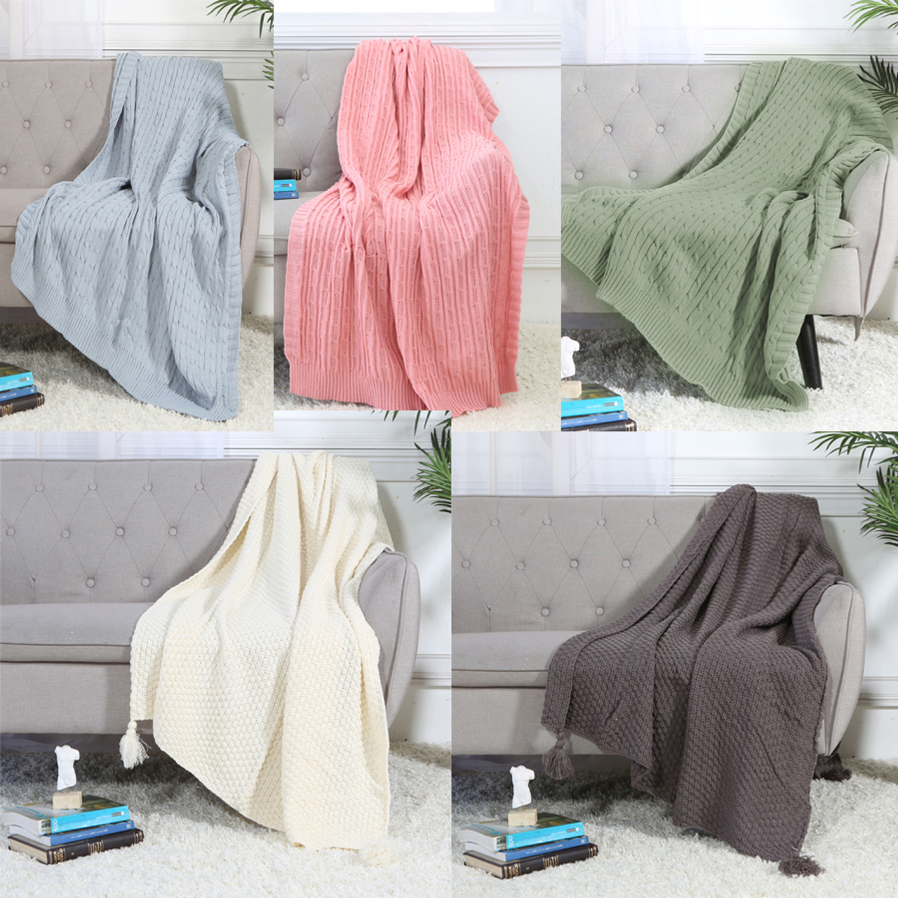 """Legacy Decor Cable Knit Sweater Design Soft Lightweight Throw Blanket, Blue, Pink, or Sage 50"""" x 60"""" or Charcoal, Ivory 50"""" x 70"""" with Tassels"""
