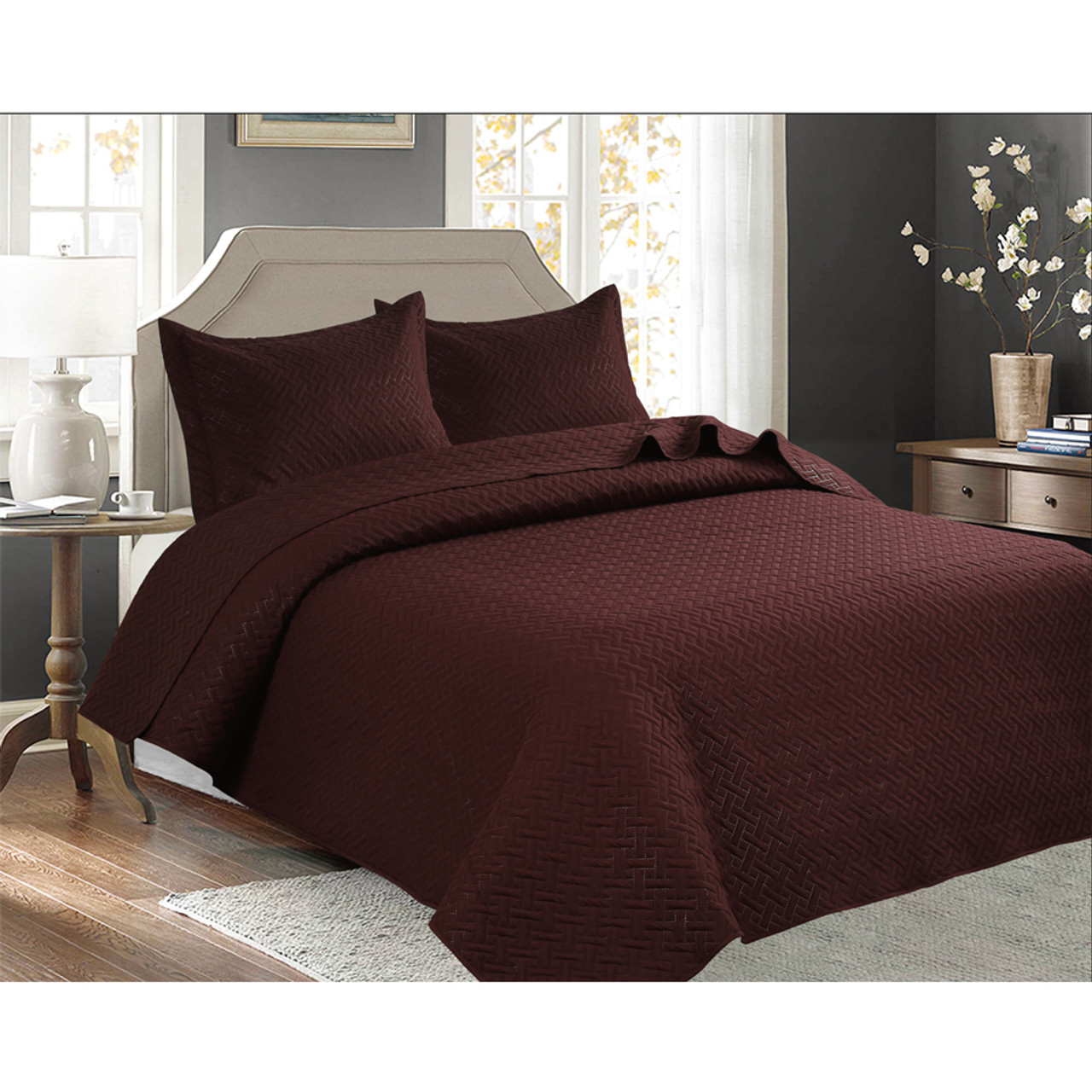 3 PCS Squared Stitched Pinsonic Reversible Oversized Bedspread Brown Color