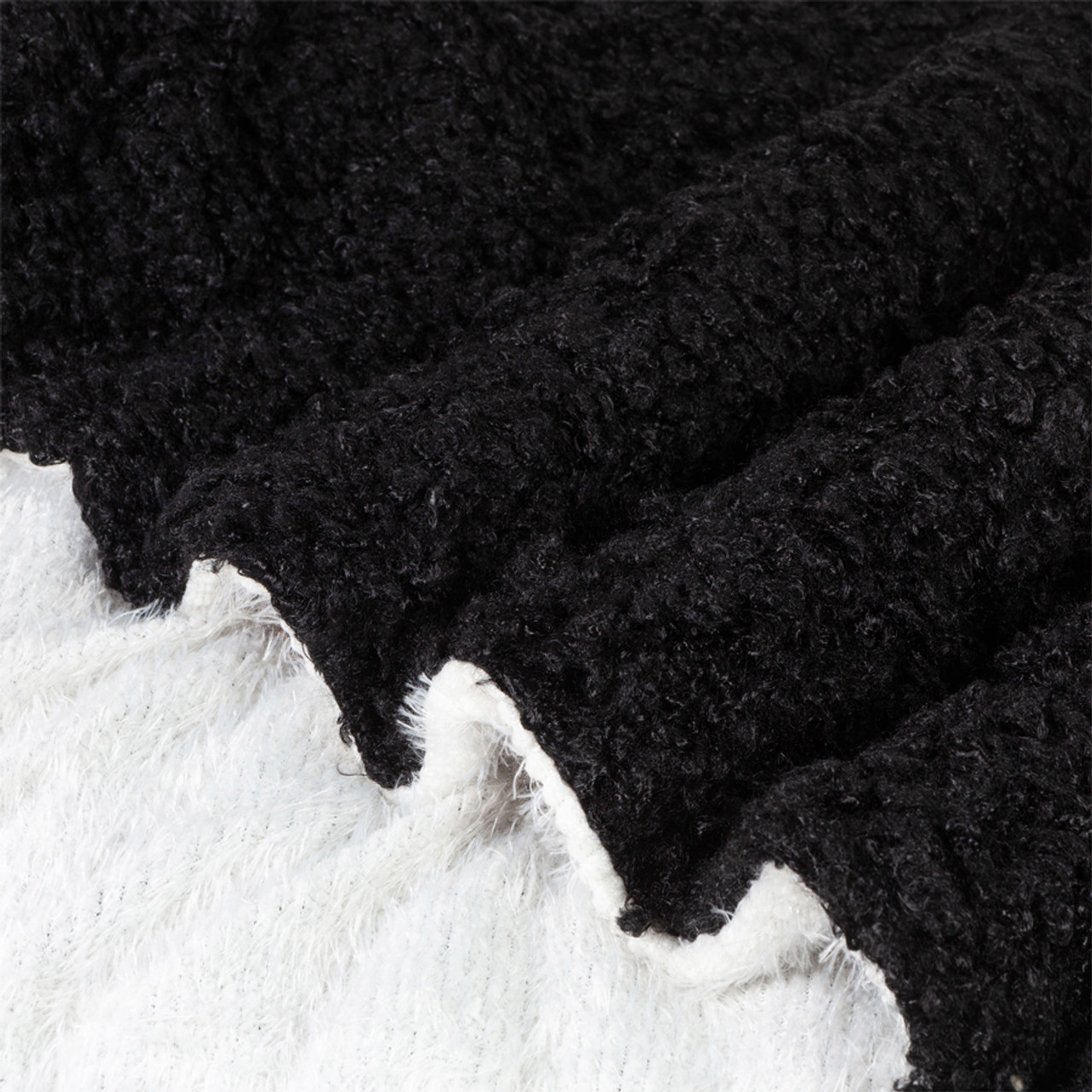 """Luxury Curly Faux Lamb Fur Ultra Plush and Soft Sherpa Fleece Decorative Throw Blanket, Black or Lilac Color 46"""" x 60"""""""