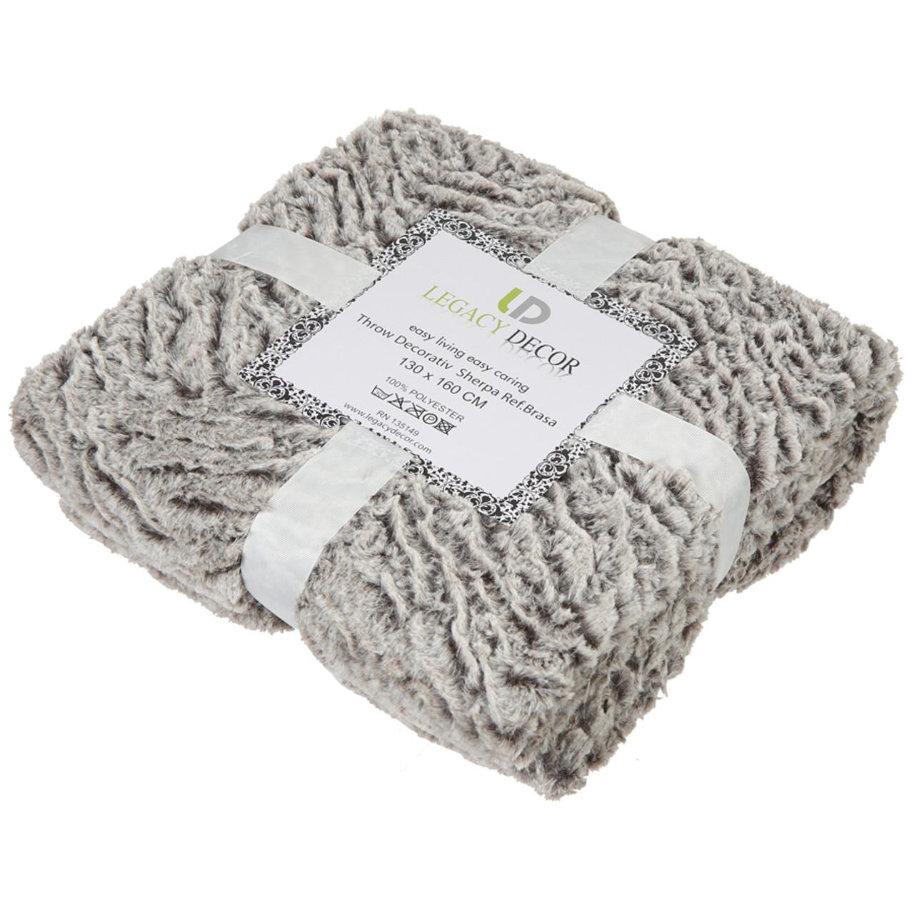 "Luxury Faux Micro Fur Wave Design Ultra Plush and Super Soft Sherpa Fleece Decorative Throw Blanket, Grey 51"" x 60"""