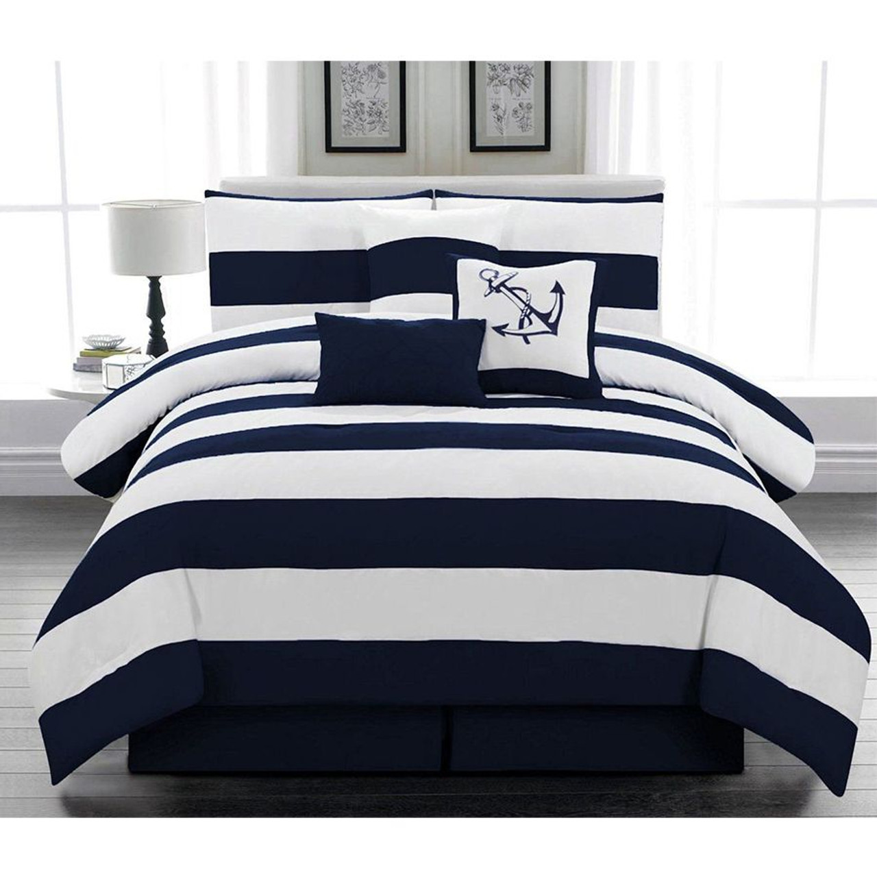 7 pcs Microfiber Navy Nautical Themed Comforter Set