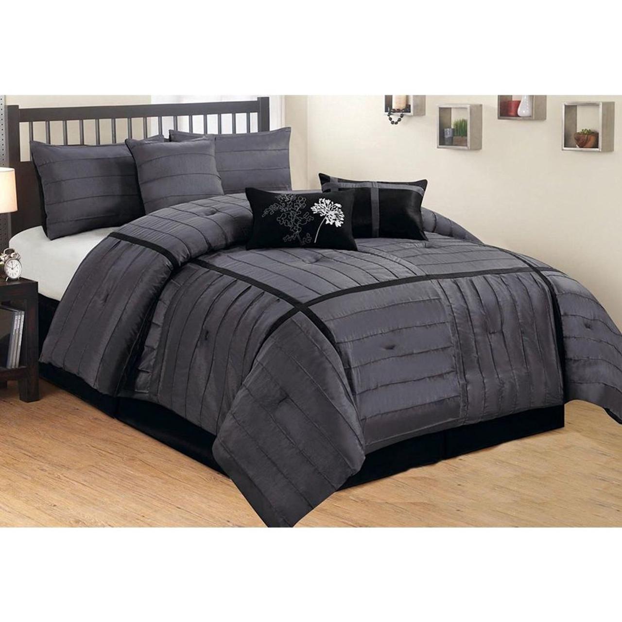 7 Pc Black Grey Charcoal Faux Silk Checkered Comforter Set Legacy Decor