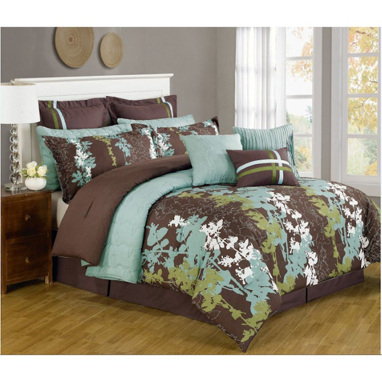 12 Pc. Teal, Green, Brown and White Floral Print Comforter Set with Quilt Included