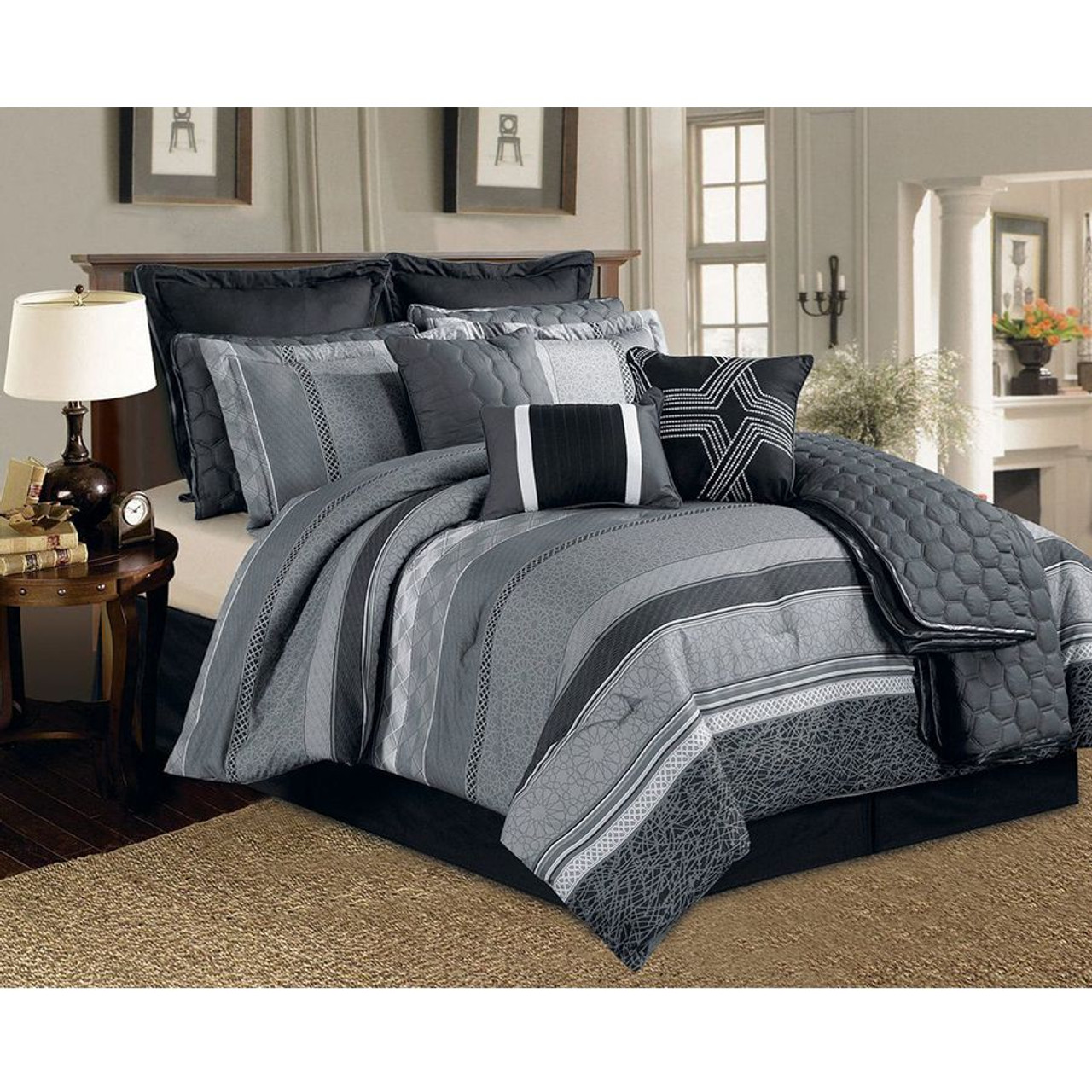 12 Pc. Black, Grey and White Striped Pattern Comforter Set with Quilt Included