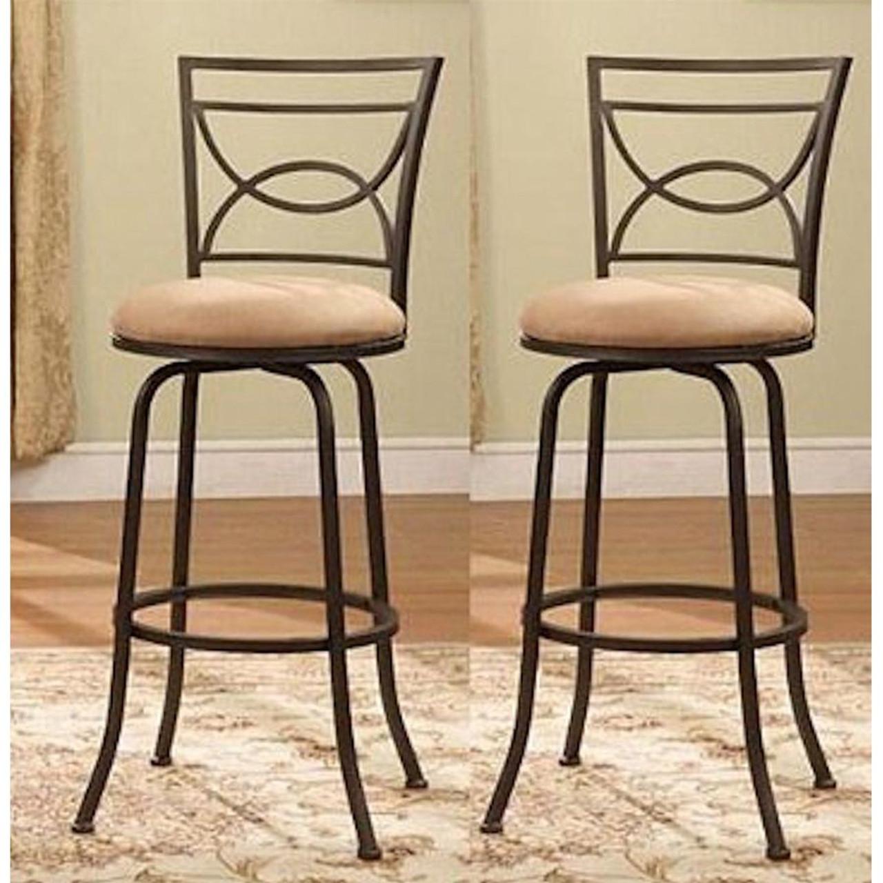 Half Circle Back Adjustable Metal Swivel Barstools  set of 2