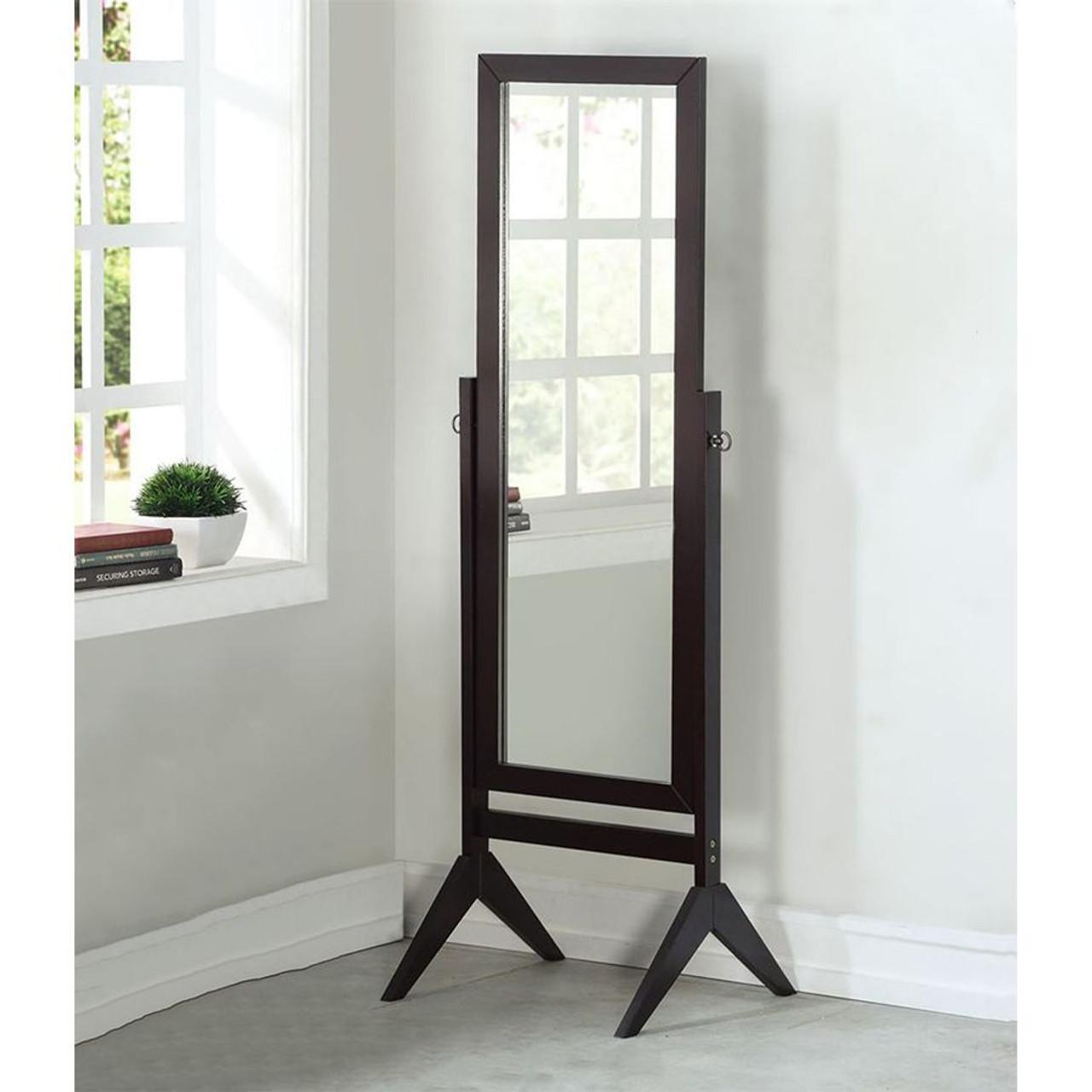 Wood Rectangular Cheval Floor Mirror, Free Standing Mirror