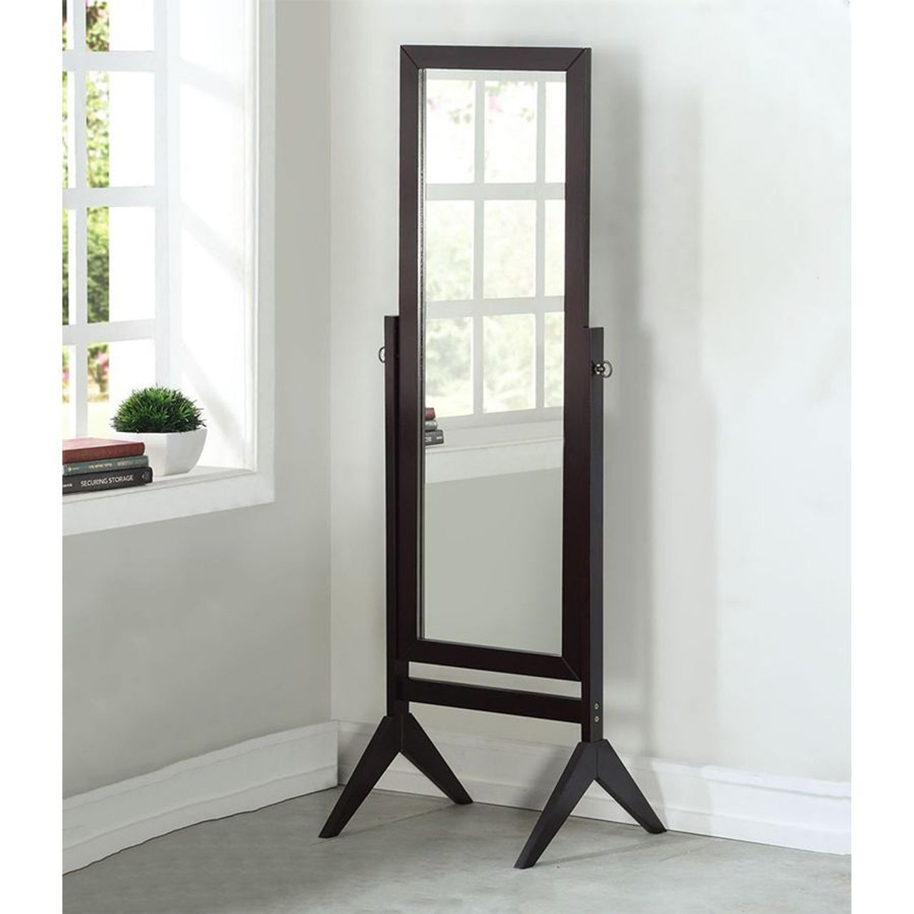 Wood Rectangular Cheval Floor Mirror Free Standing Mirror Legacy Decor