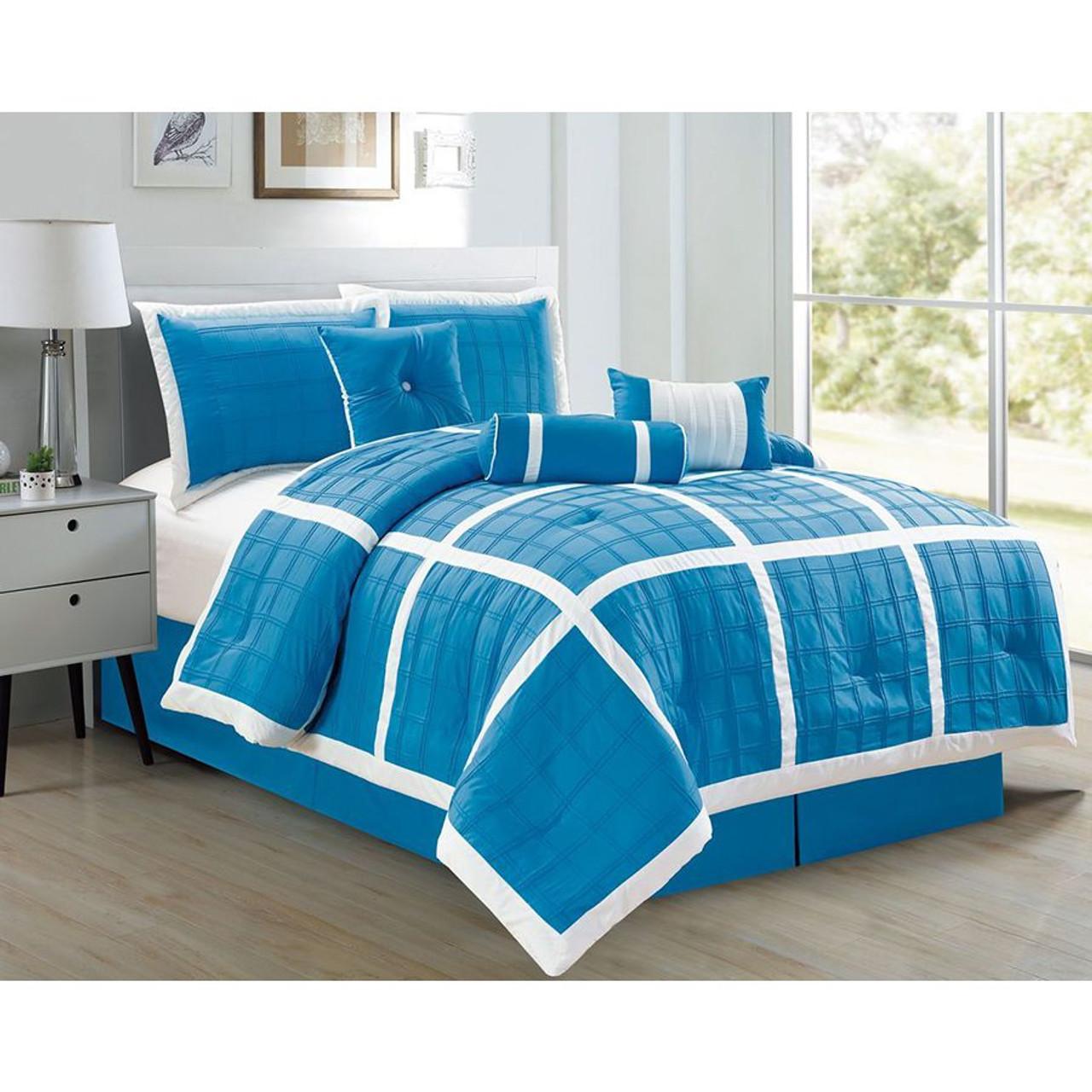 7 pc Microfiber Aqua and White, Checkered Stitch Design Comforter Set