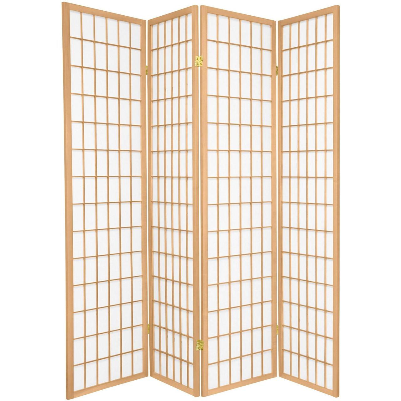 4 Panel Room Dividers Shoji Design Black, White, Cherry, Espresso, or Natural Color