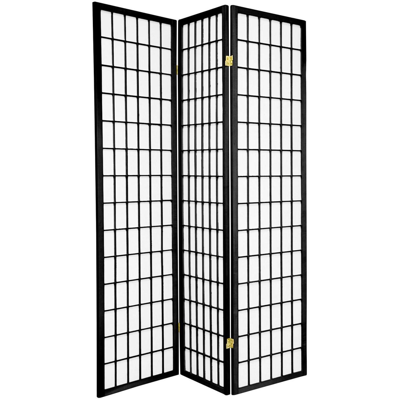 3 Panel Room Divider Shoji Design White, Natural, Black, Cherry, or Espresso Color