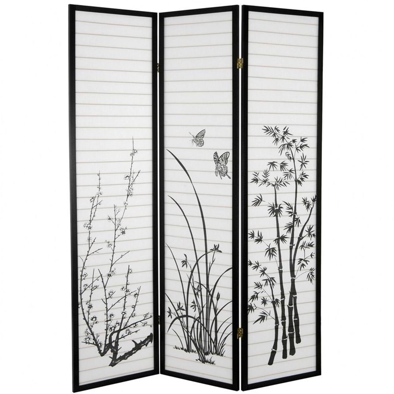 Room Divider 3 Panel Bamboo Floral Print Black Frame