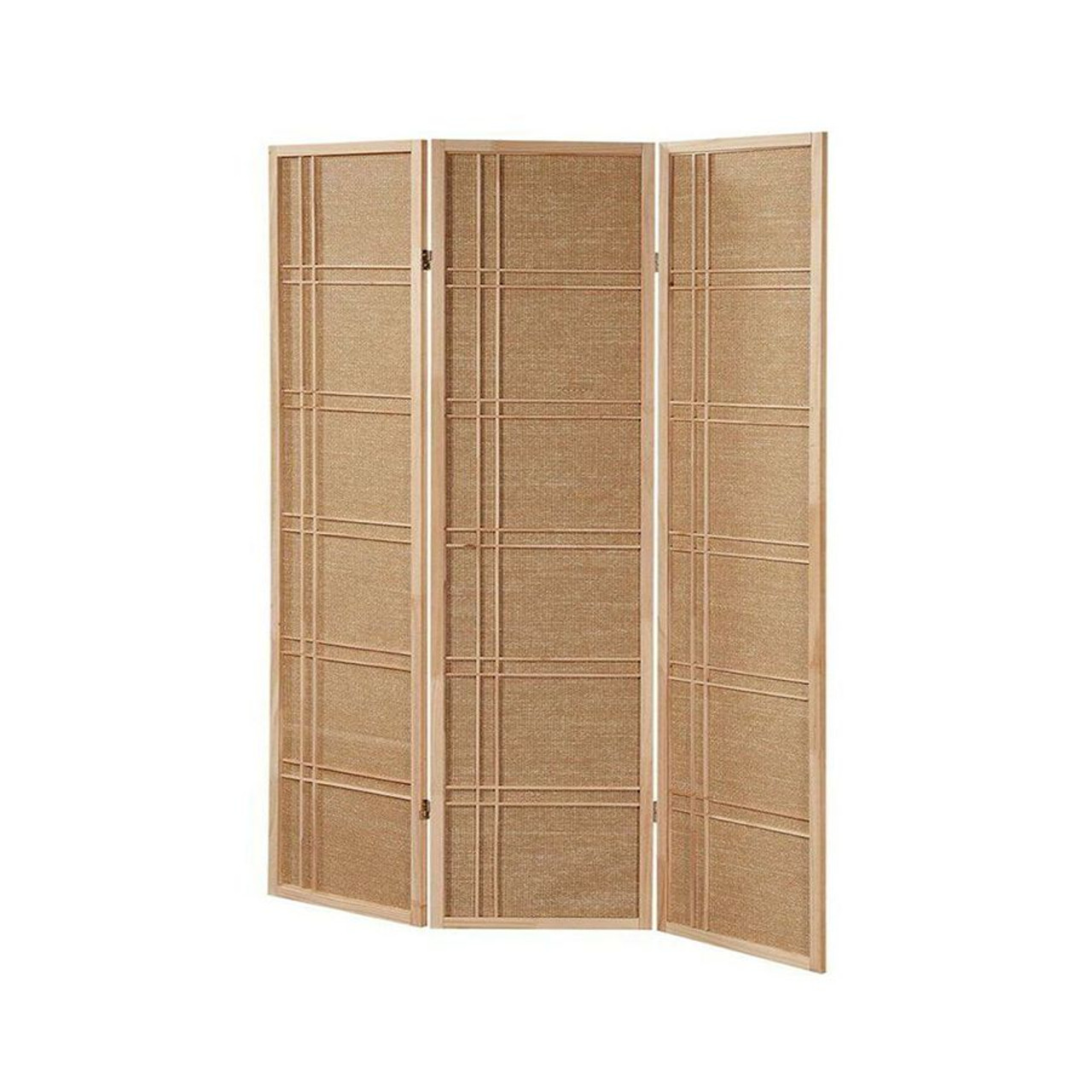 Room Divider 3 Panel Fabric In-lay Wooden Natural Finish