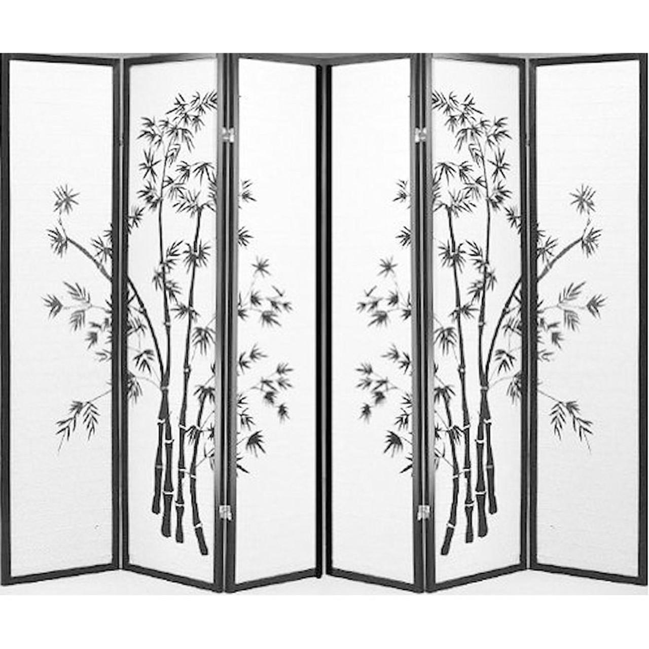 6 Panel Black Framed Bamboo Print Room Divider