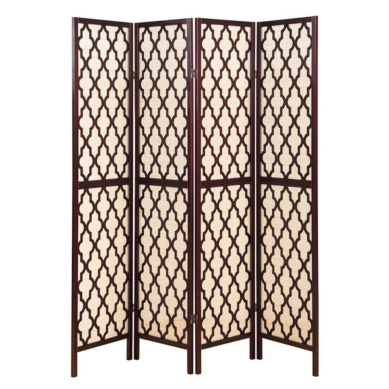 Room Divider 4 Panel Wooden Fabric In-lay  Decorative Cut Outs  Espresso Color