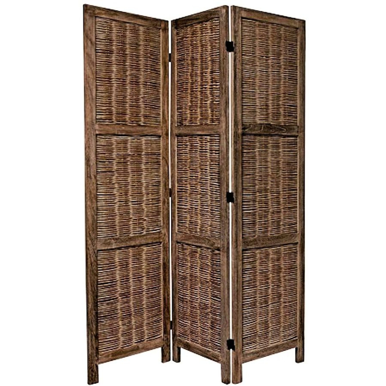 3 Panel Room Divider Wicker Weave Design Brown or White Color