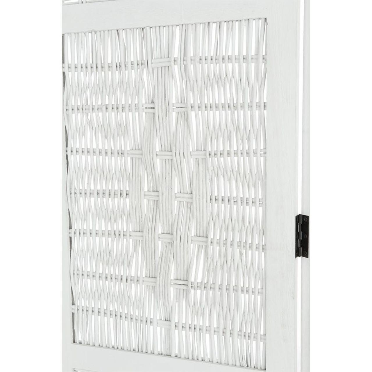 4 Panel Room Divider Wicker White Color