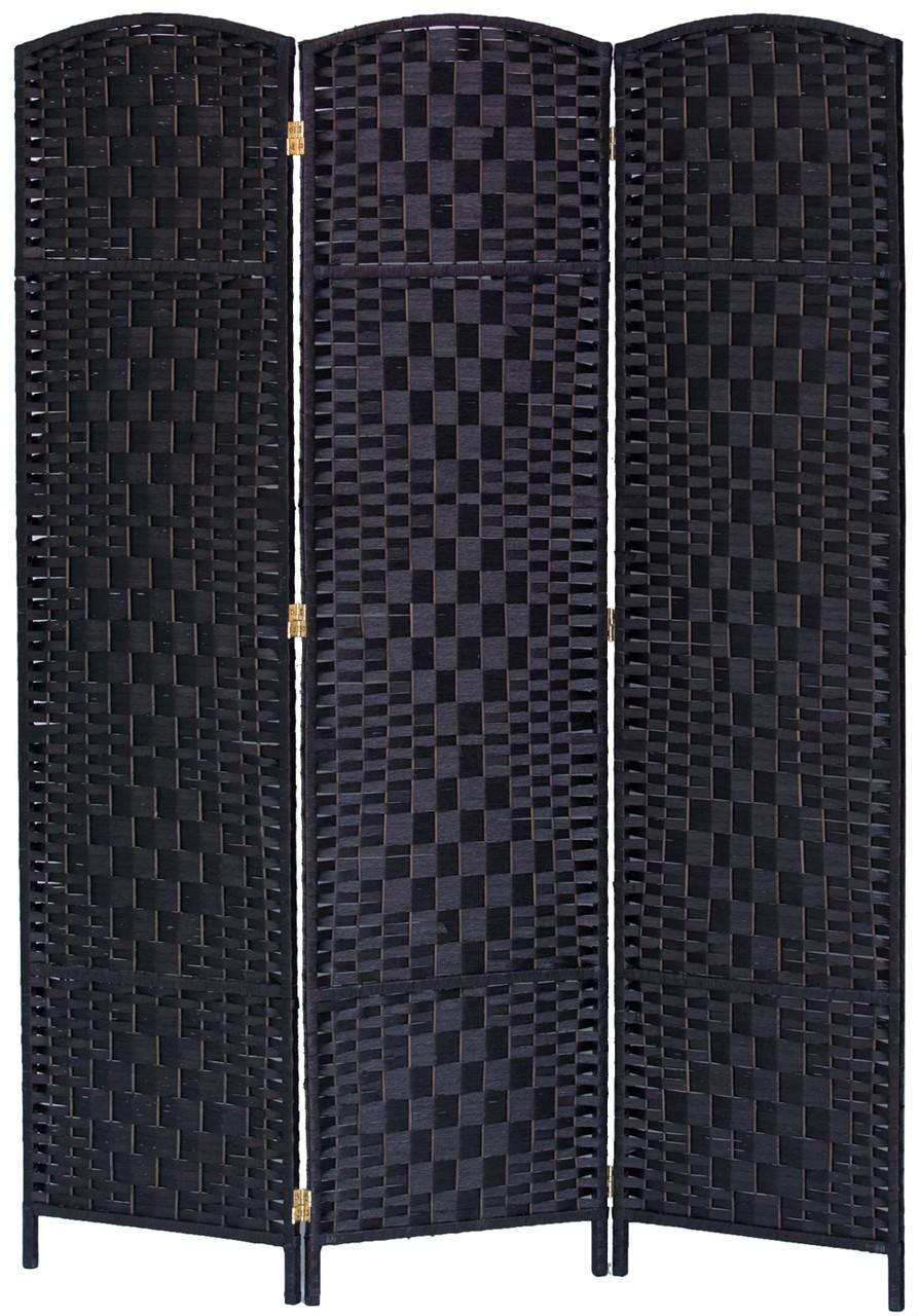 3 Panel Room Divider Privacy Screen Diamond Weave Fiber