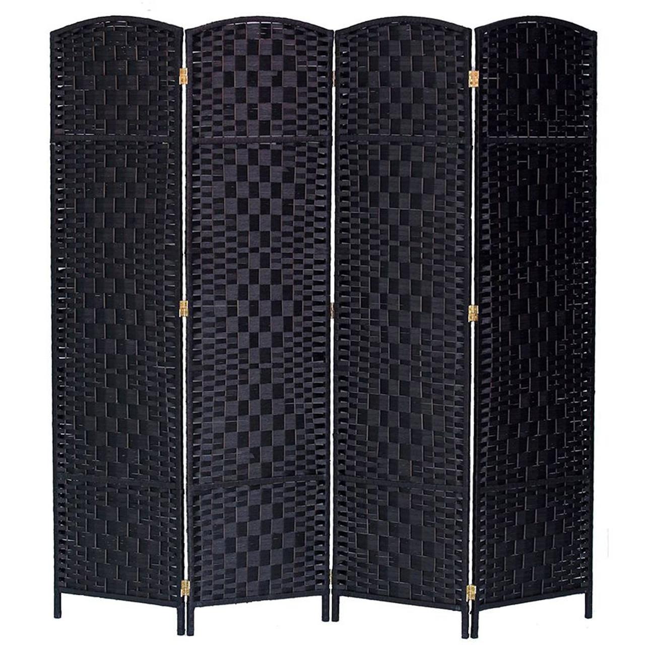 4 Panel Room Divider Privacy Screen Diamond Weave Fiber
