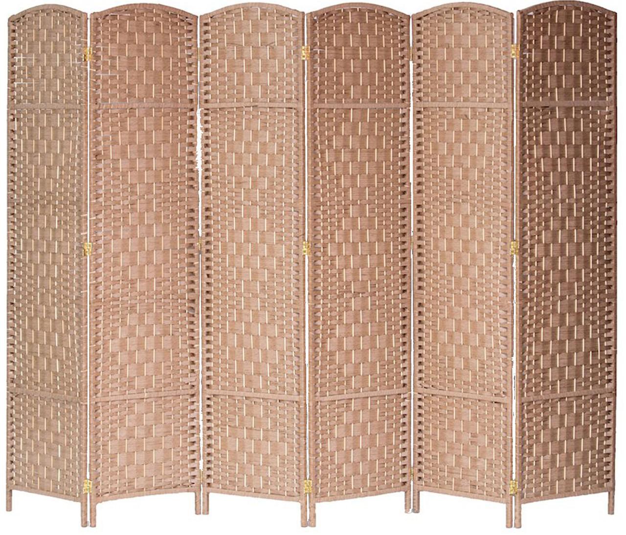 6 Panel Room Divider Privacy Screen Diamond Weave Fiber