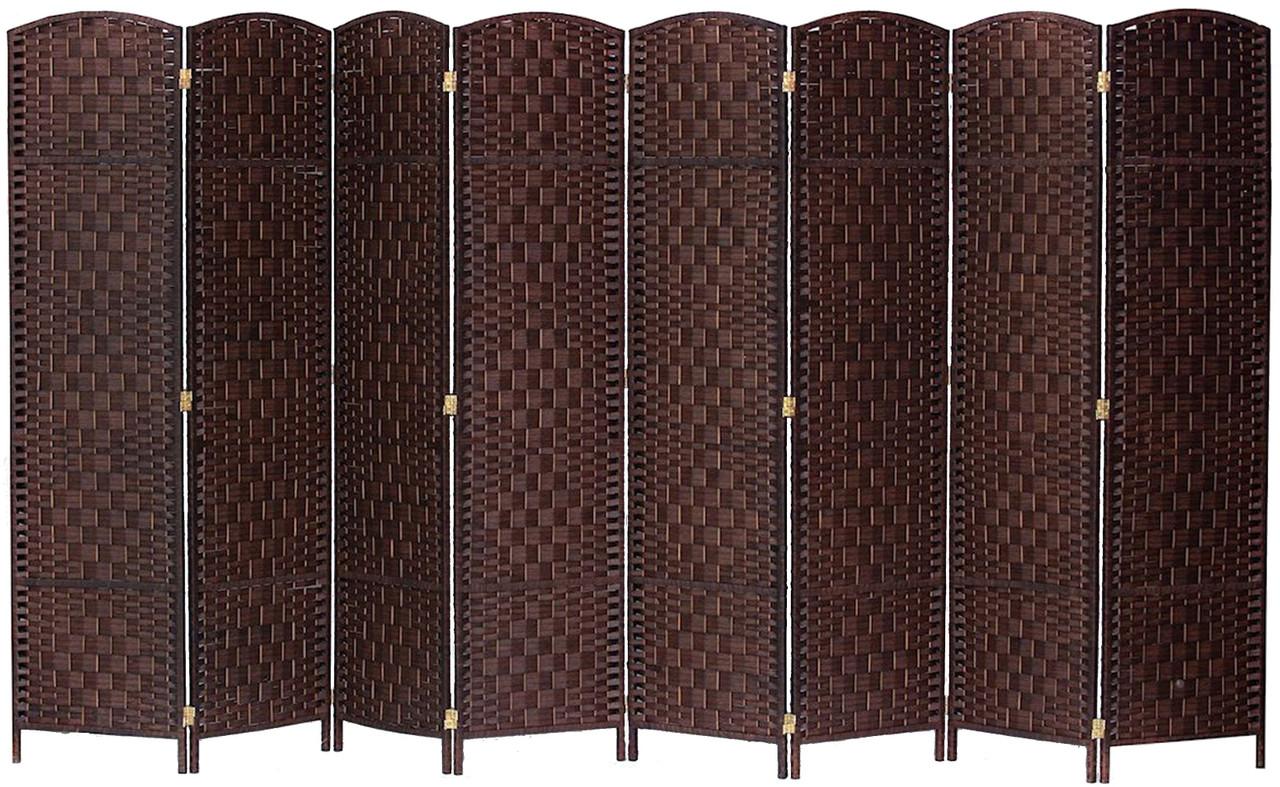 8 Panel Room Divider Privacy Screen Diamond Weave Bamboo Fiber