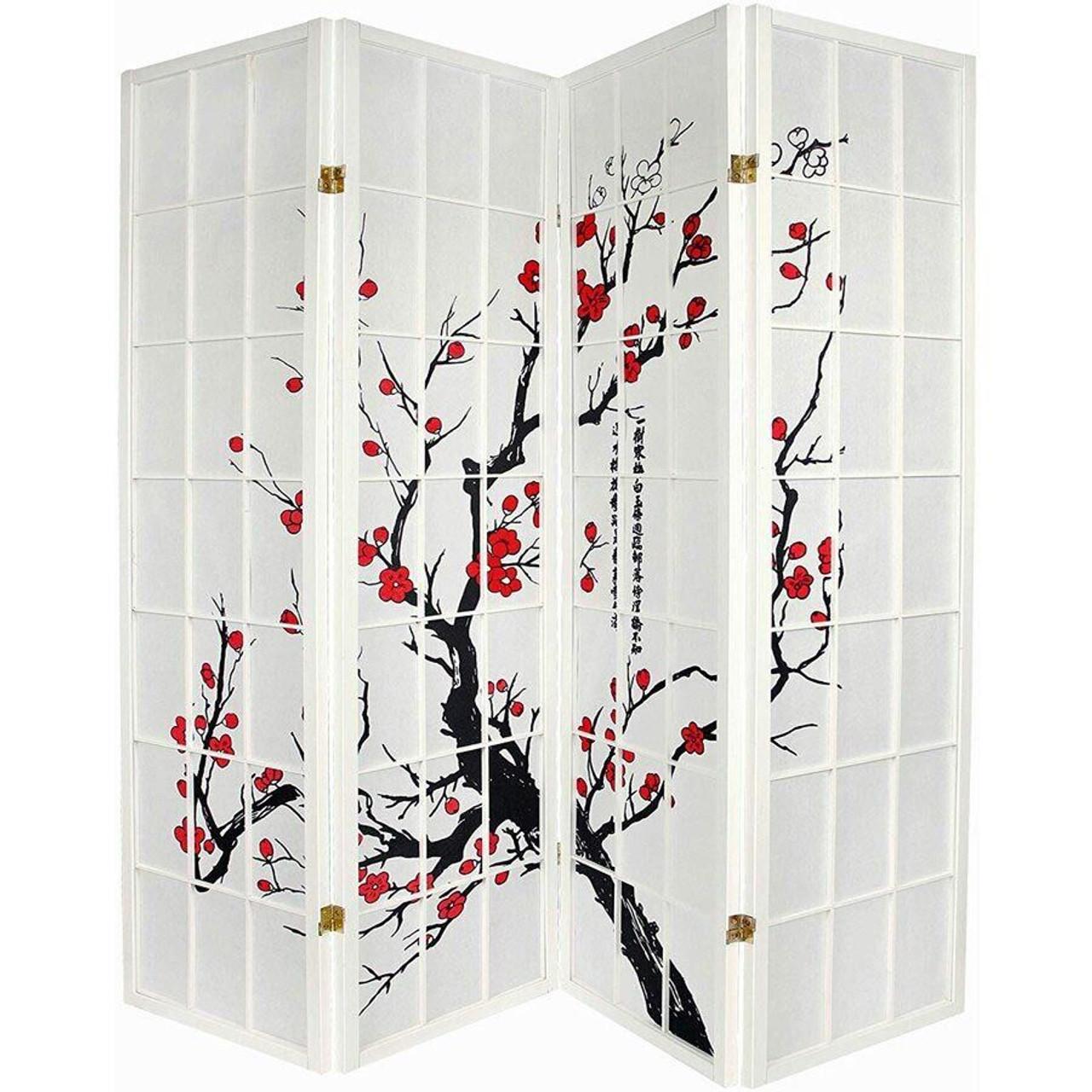 Room Divider 4 Panels Red Blossom Design White Color