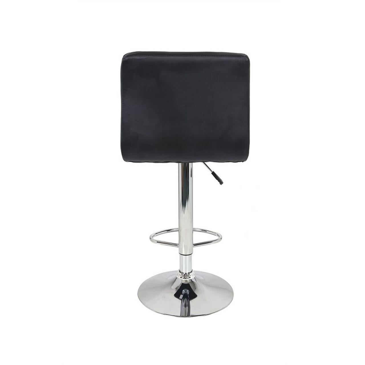 Set of 2 Adjustable Swivel Bar Stools Black Color