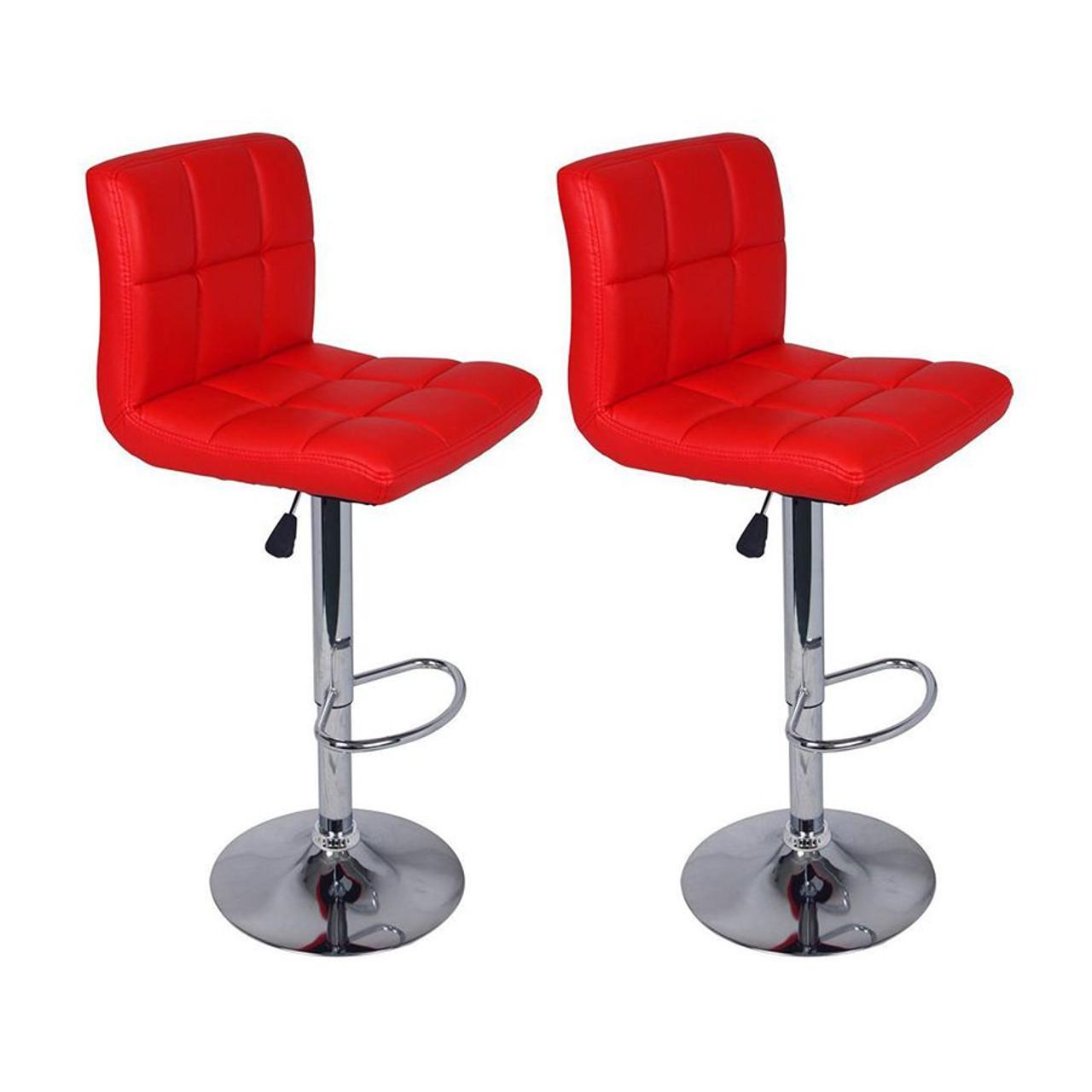 Set of 2 Adjustable Swivel Bar Stools  Red Color