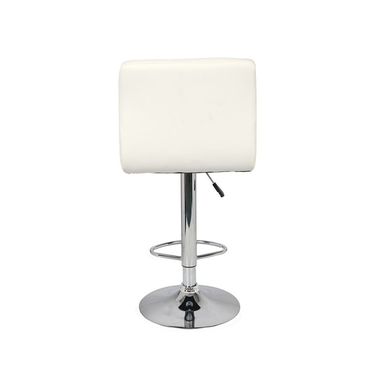 Set of 2 Adjustable Swivel Bar Stools  White Color