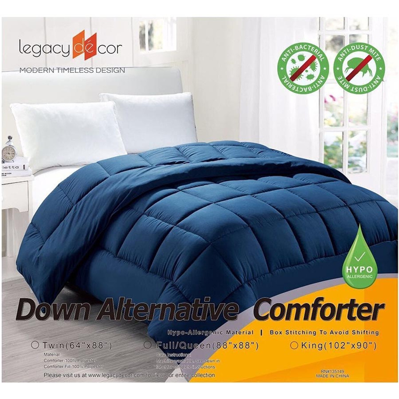 Hypoallergenic Down Alternative Comforter Navy Color
