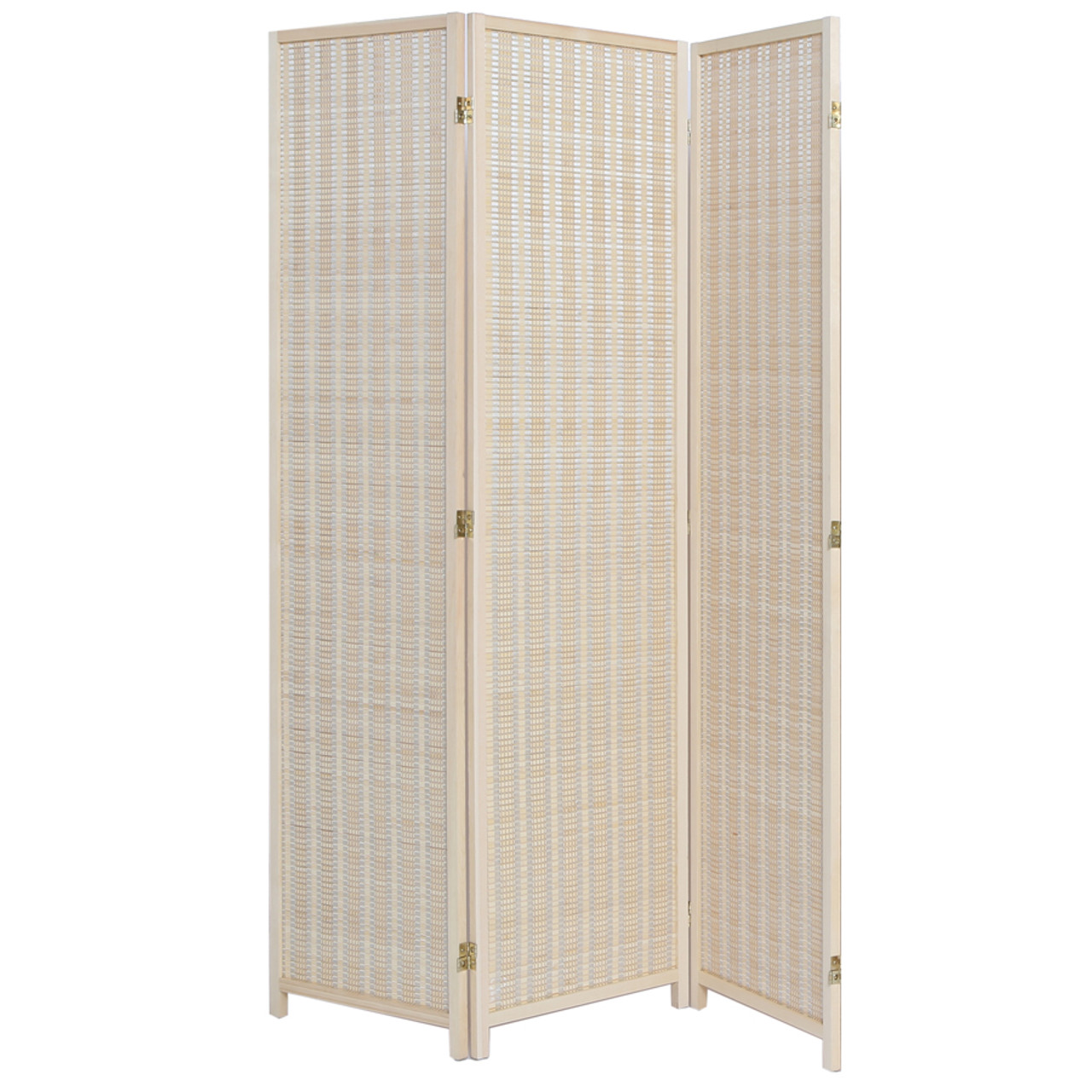 3 Panel Natural, Brown, or Black Color Wood and Bamboo Weave Room Divider
