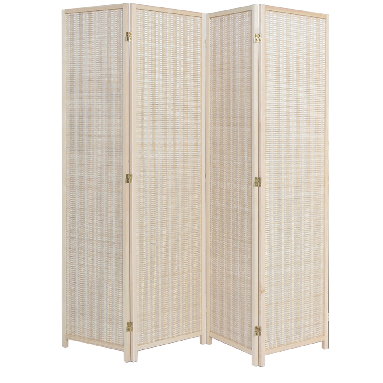 4 Panel Natural, Brown, or Black Color Wood and Bamboo Weave Room Divider
