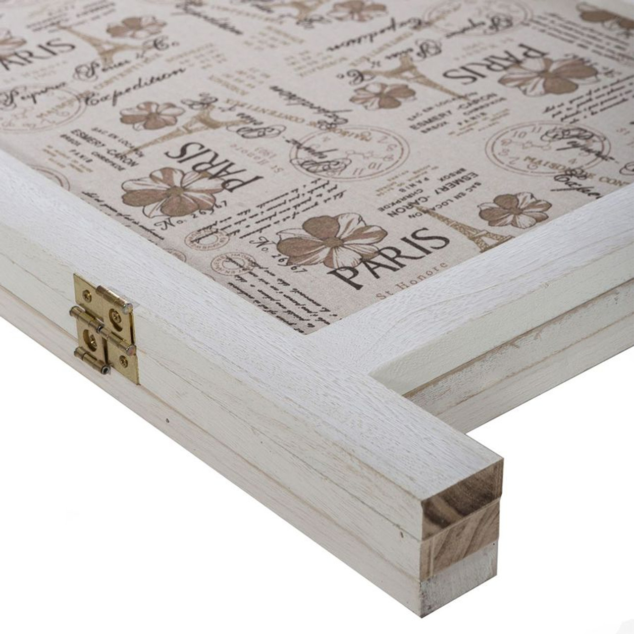 3 Panel Screen Room Divider, White Color Solid Wood With Paris Themed Canvas