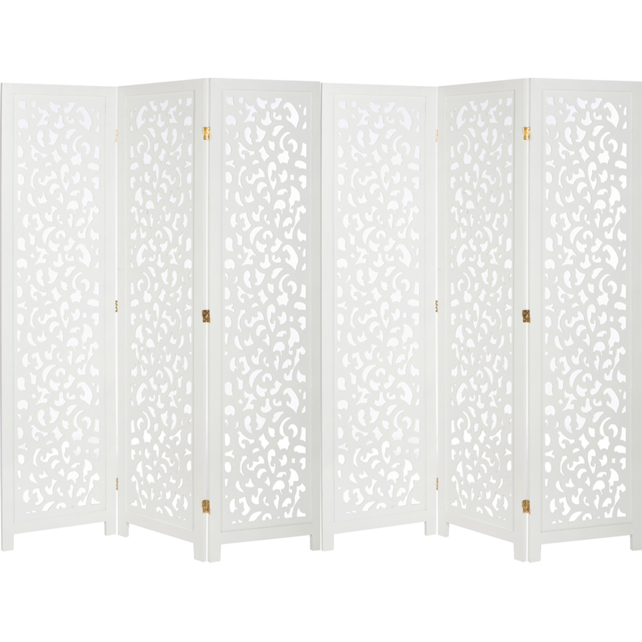 3 or 6 Panel Solid Wood Screen Room Divider, White Color With Decorative Cutouts